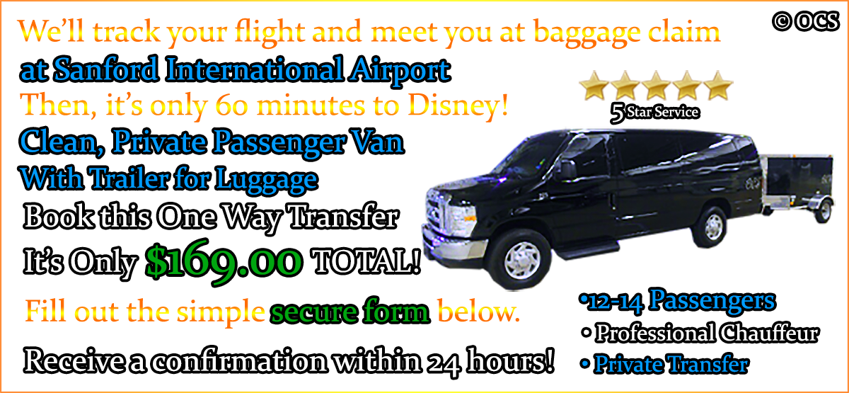 Book this One Way Transfer - It's Only $169.00 TOTAL!