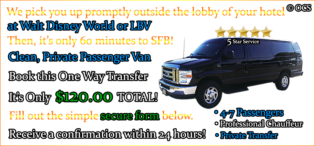 Book this One Way Transfer - It's Only $120.00 TOTAL!