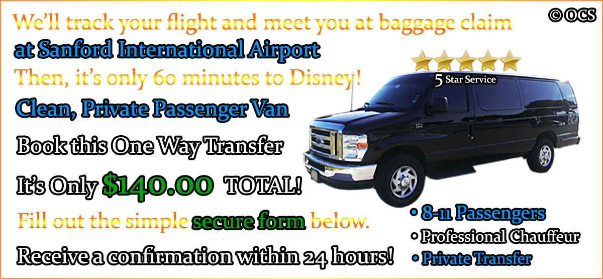 Book this One Way Transfer - It's Only $140.00 TOTAL!